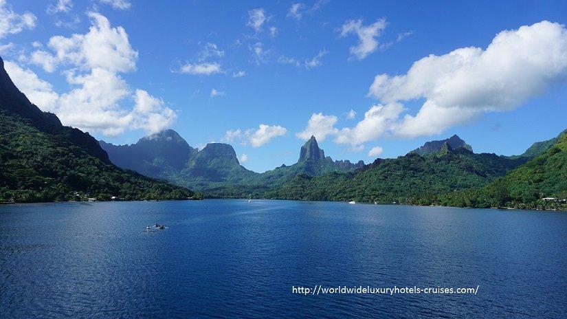Paul Gauguin Cruises Tahiti & Society Islands Luxury Travel Virtuoso Izumi Ogawa Trip agent vacation advisor Vision French Polynesia Cruise ship boat Bora Bora ocean water sand beach Moorea