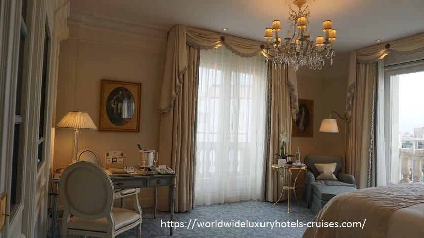 Four Seasons Hotel George V Paris Luxury Travel Virtuoso Izumi Ogawa Trip agent vacation advisor Vision Europe celebrity room hotel book blog review property elegance high-end restaurant Michelin star