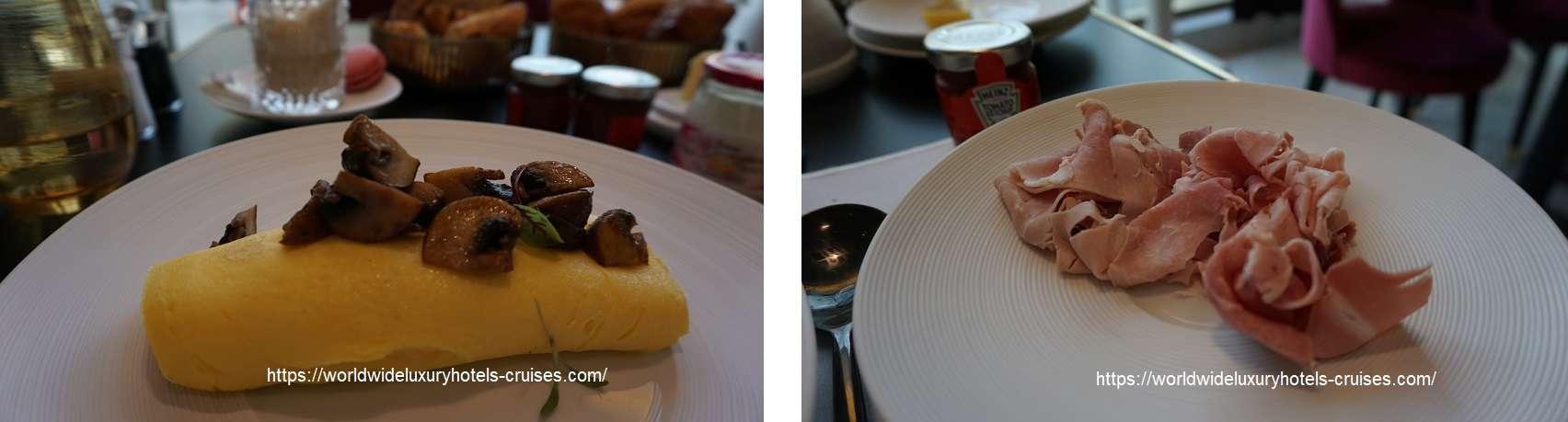 フォションロテルパリの朝食 フォションロテルパリ ジュニアスィート  フォションホテル フォションロテルパリ Fauchon L'Hotel  パリ フランス パリ5つ星ホテル ラグジュアリーホテル グルメバー ジュニアスィート カリタスパ